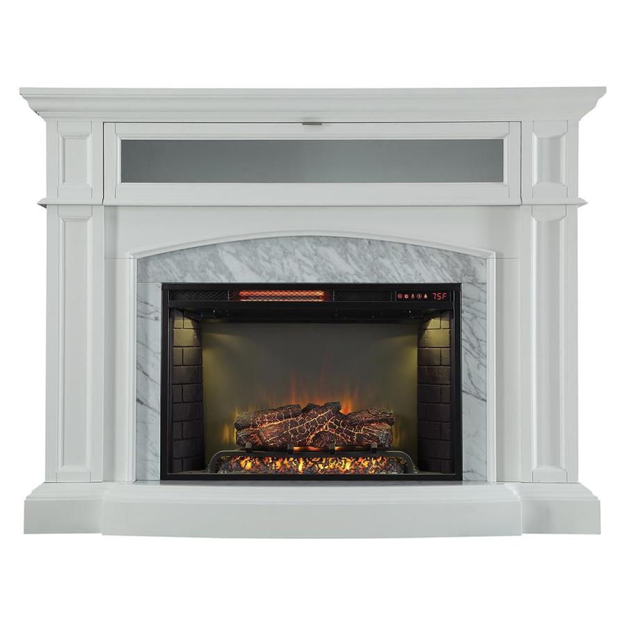 Scott Living 52 5 In W White Infrared Quartz Electric Fireplace In The Electric Fireplaces Department At Lowes Com