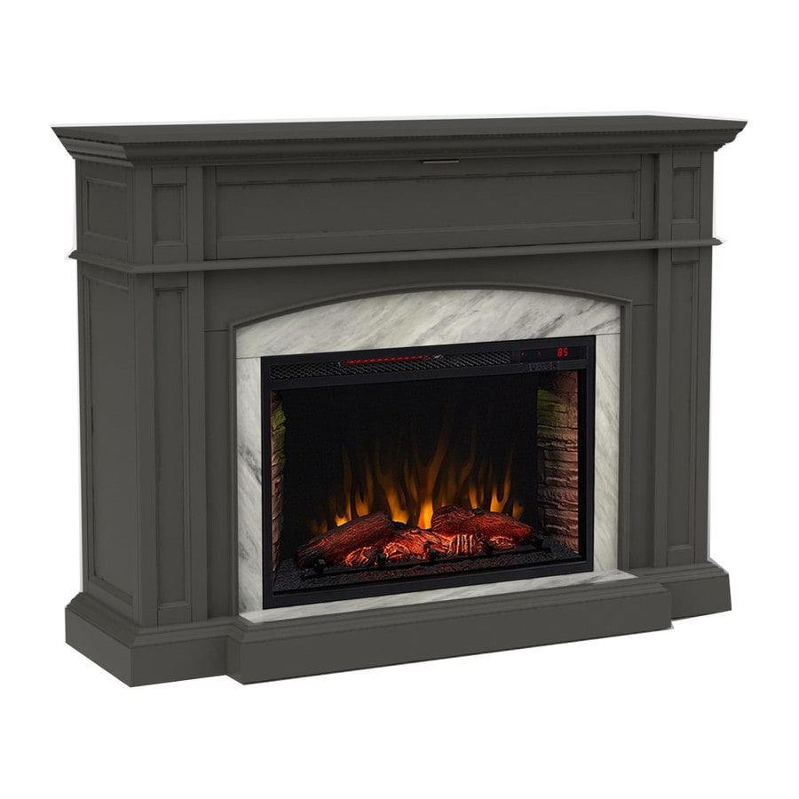 Shop scott living 52.5-in w 5100-btu dark grey wood corner or flat wall infrared quartz electric fireplace media mantel in the electric fireplaces section of Lowes.com