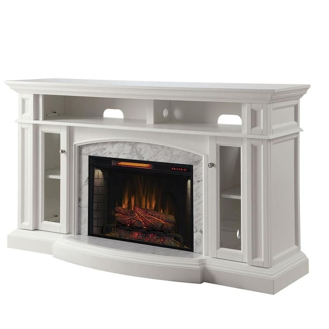 Scott Living 66 In W White Infrared Quartz Electric Fireplace In The Electric Fireplaces Department At Lowes Com