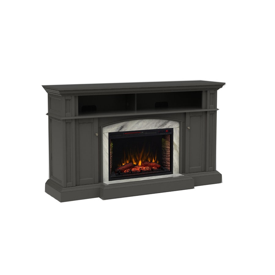 Shop Scott Living 66 In W 5100 Btu Dark Grey Wood Flat Wall Infrared Quartz Electric Fireplace