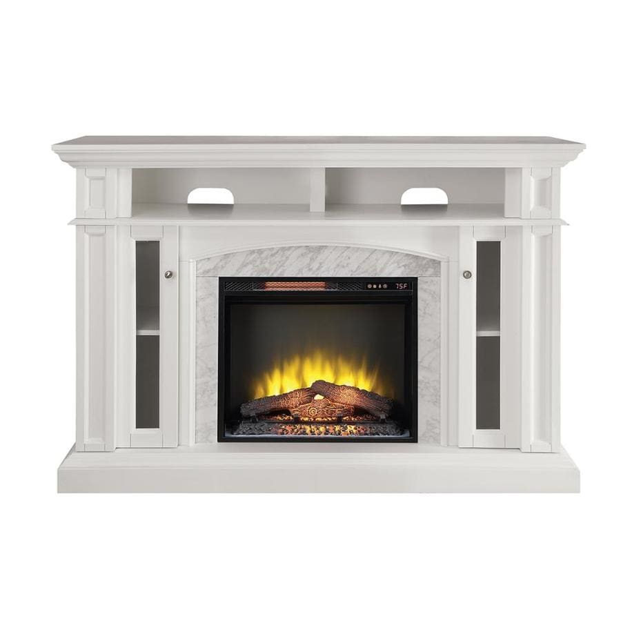 Shop scott living 59-in w 5100-btu white wood flat wall infrared quartz electric fireplace media mantel in the electric fireplaces section of Lowes.com