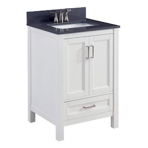 Scott Living Durham 24 In White Oak Single Sink Bathroom Vanity With Gray Engineered Stone Top At Lowes Com