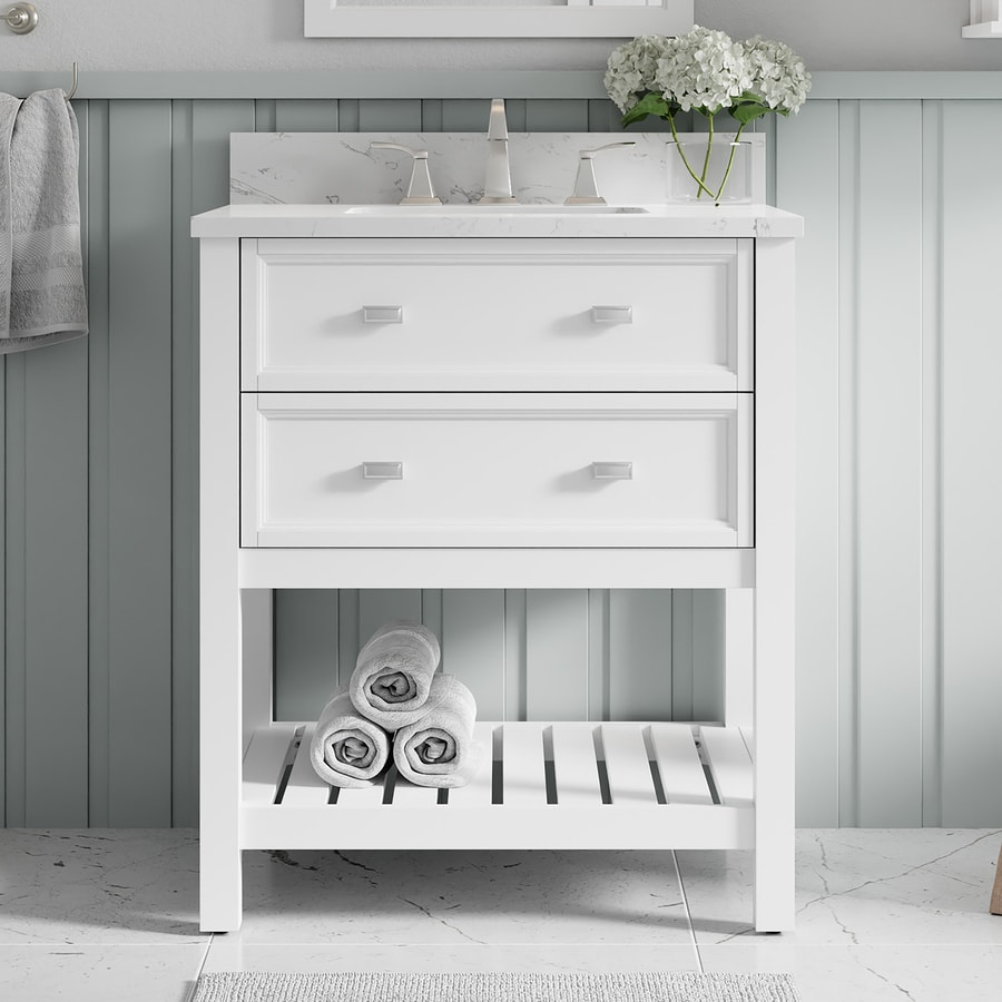 Scott living canterbury 30 in white single sink bathroom vanity with carrara engineered stone top