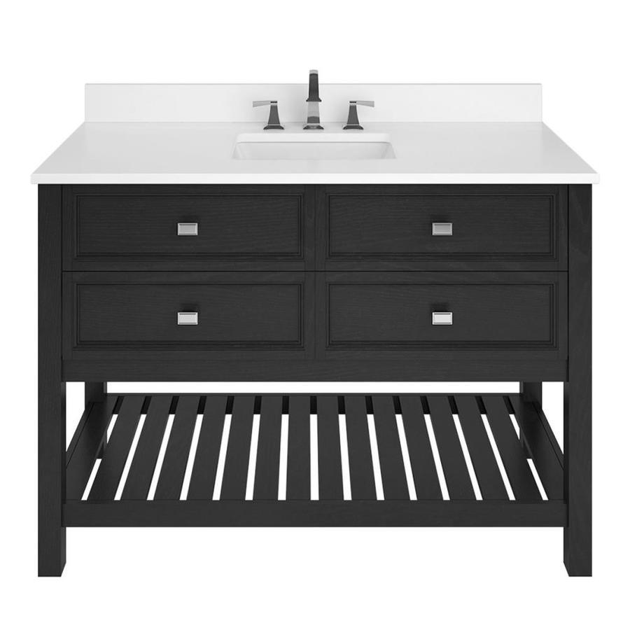 Scott Living Canterbury Black Undermount Single Sink Bathroom Vanity with Engineered Stone Top (Common: 48-in x 22-in; Actual: 48-in x 22-in)