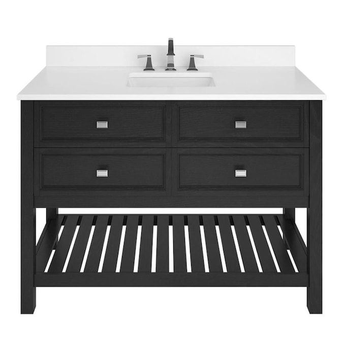 Scott Living Canterbury 48 In Black Single Sink Bathroom Vanity With White Engineered Stone Top In The Bathroom Vanities With Tops Department At Lowes Com