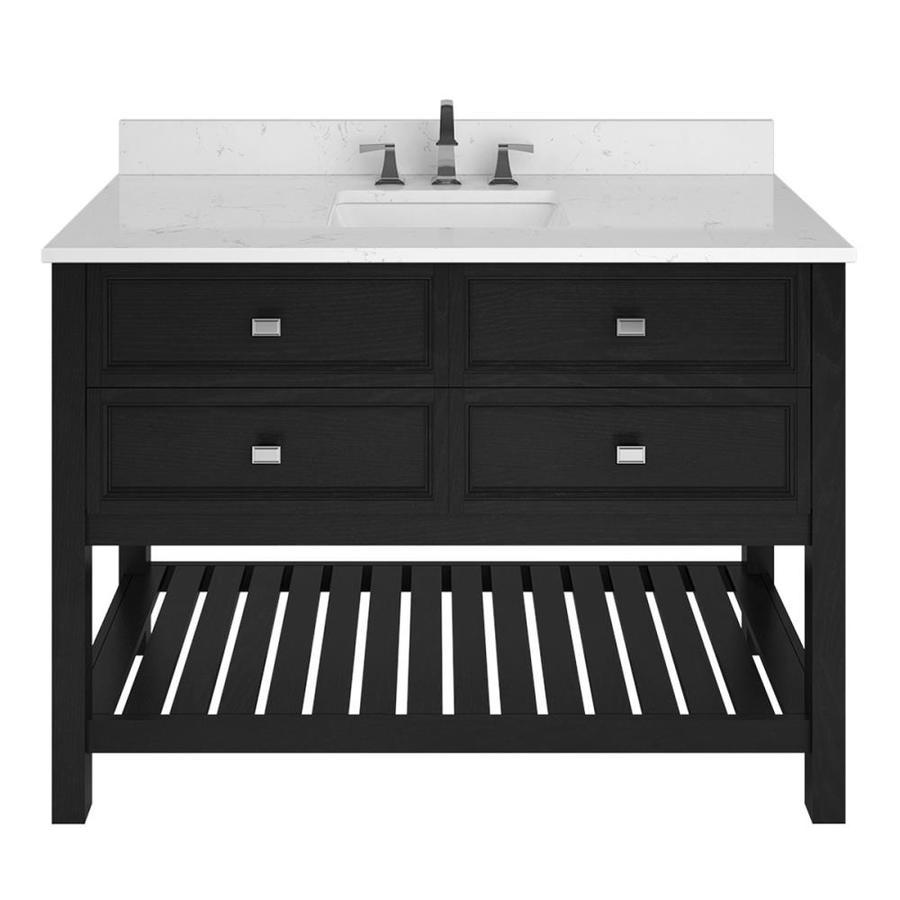 Scott living canterbury 48 in black single sink bathroom - Bathroom vanity black marble top ...