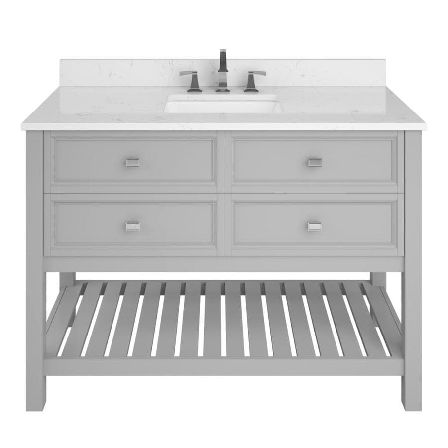 Scott Living Canterbury Light Gray Undermount Single Sink Bathroom Vanity with Engineered Stone Top (Common: 48-in x 22-in; Actual: 48-in x 22-in)