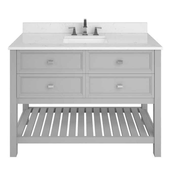 Allen Roth Canterbury 48 In Light Gray Undermount Single Sink Bathroom Vanity With Carrara Engineered Stone Top In The Bathroom Vanities With Tops Department At Lowes Com