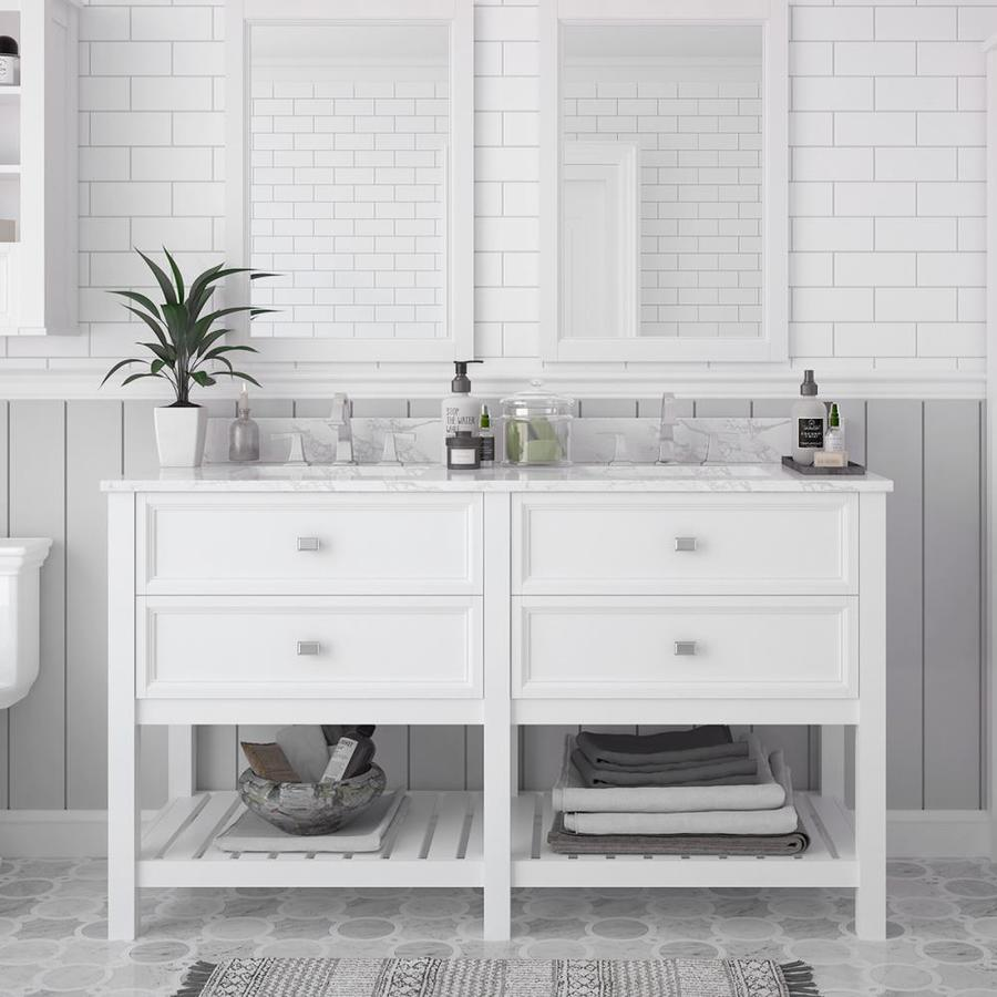 Scott Living Canterbury White Undermount Double Sink Bathroom Vanity with Natural Marble Top (Common: 60-in x 22-in; Actual: 60-in x 22-in)