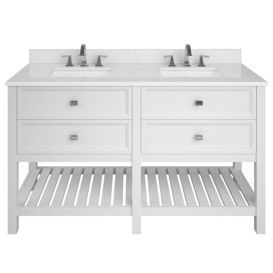 Scott Living Canterbury White Undermount Double Sink Bathroom Vanity with Engineered Stone Top (Common: 60-in x 22-in; Actual: 60-in x 22-in)