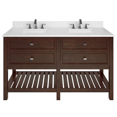 finest selection 1cf30 faf18 Canterbury 60-in Mahogany Double Sink Bathroom Vanity with White Engineered  Stone Top