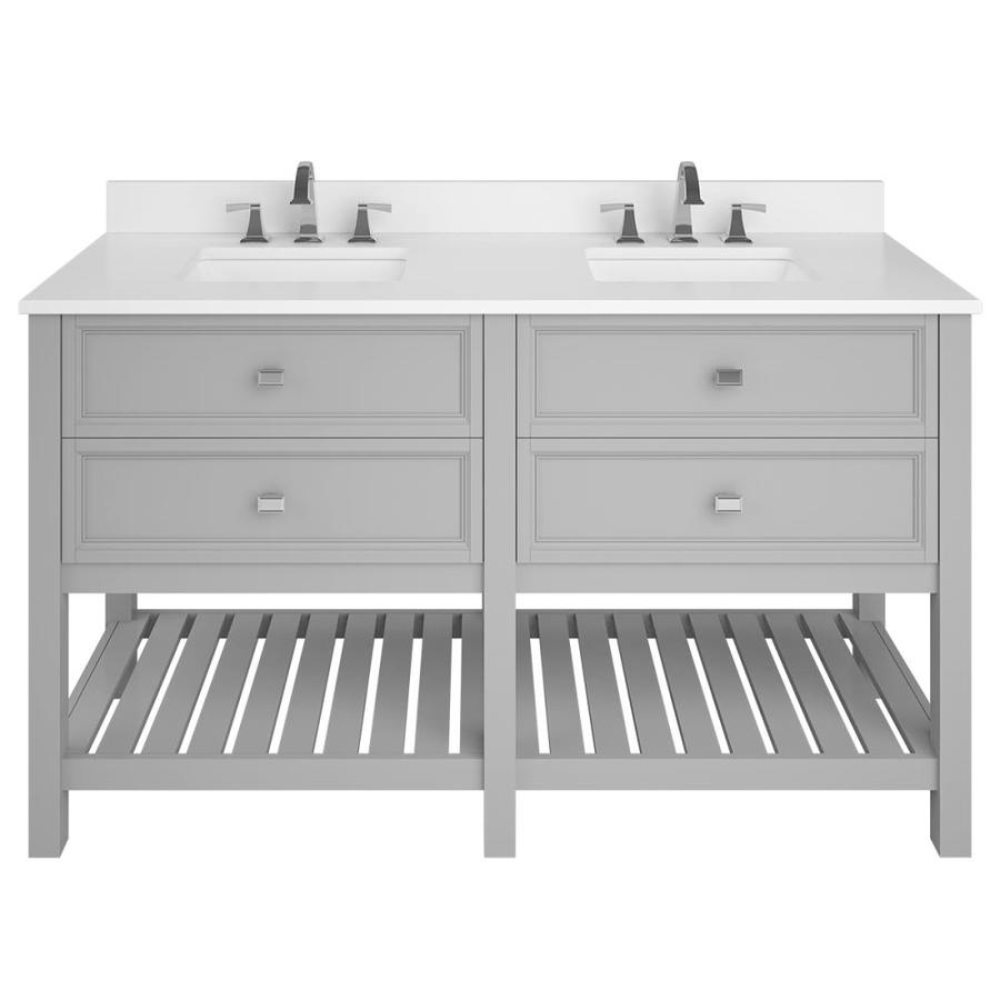 Light Gray Vanity Top : Shop Scott Living Canterbury Light Gray Undermount Double Sink Bathroom Vanity with Engineered ...