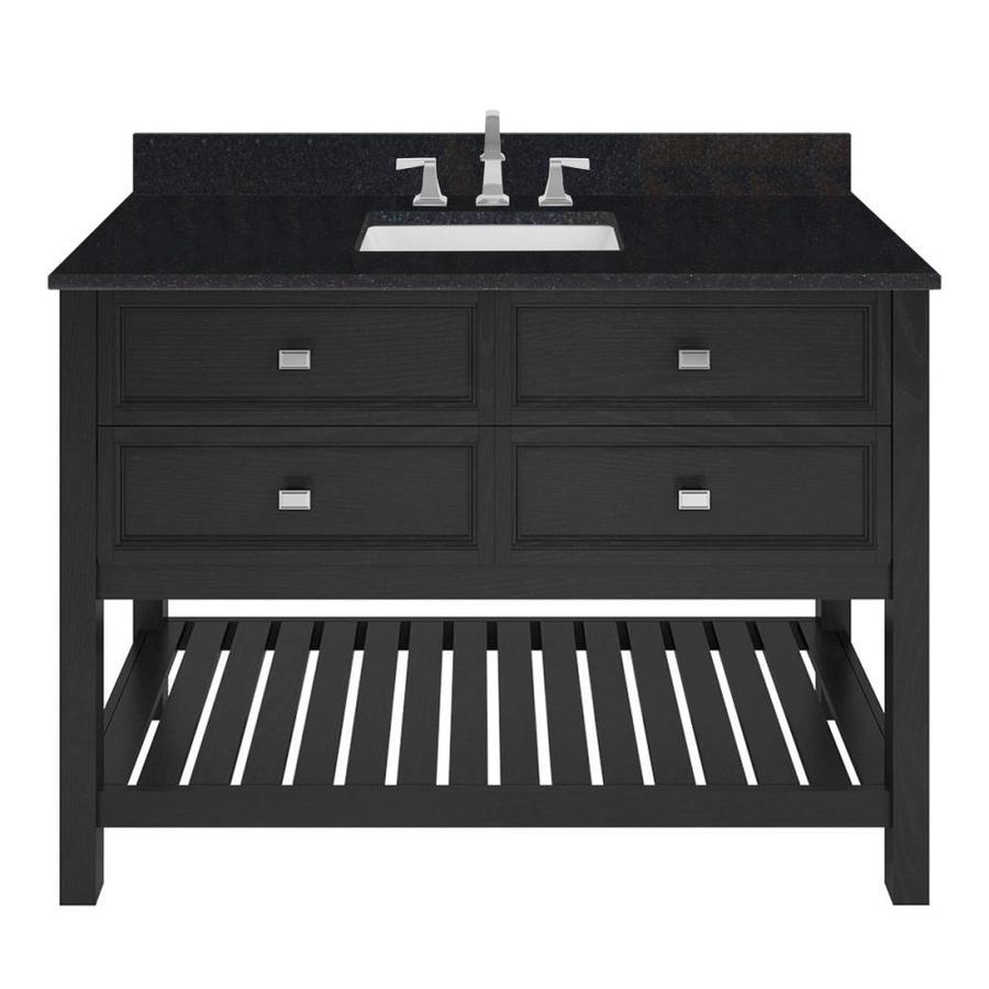 Shop Scott Living Canterbury Black Single Sink Vanity With Black Granite Top Common 48 In X 22