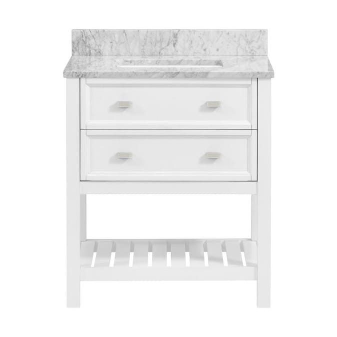 Scott Living Canterbury 30 In White Single Sink Bathroom Vanity With Natural Cararra Marble Top In The Bathroom Vanities With Tops Department At Lowes Com