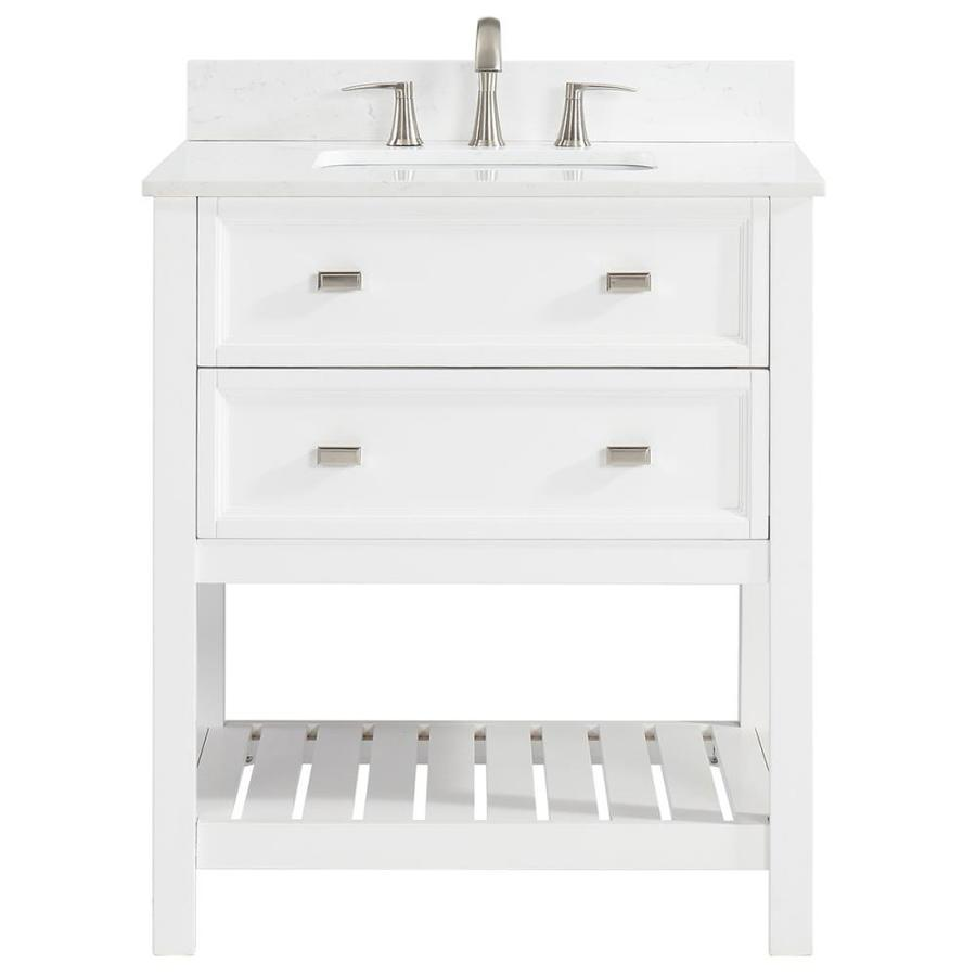 Scott Living Canterbury White Undermount Single Sink Bathroom Vanity with Engineered Stone Top (Common: 30-in x 22-in; Actual: 30-in x 22-in)