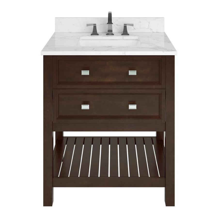 Scott Living Canterbury Mahogany Undermount Single Sink Bathroom Vanity with Natural Marble Top (Common: 30-in x 22-in; Actual: 30-in x 22-in)