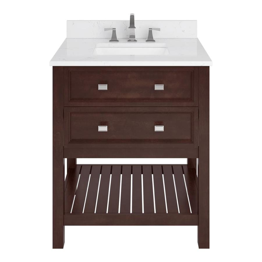 Scott Living Canterbury Mahogany Undermount Single Sink Bathroom Vanity with Engineered Stone Top (Common: 30-in x 22-in; Actual: 30-in x 22-in)