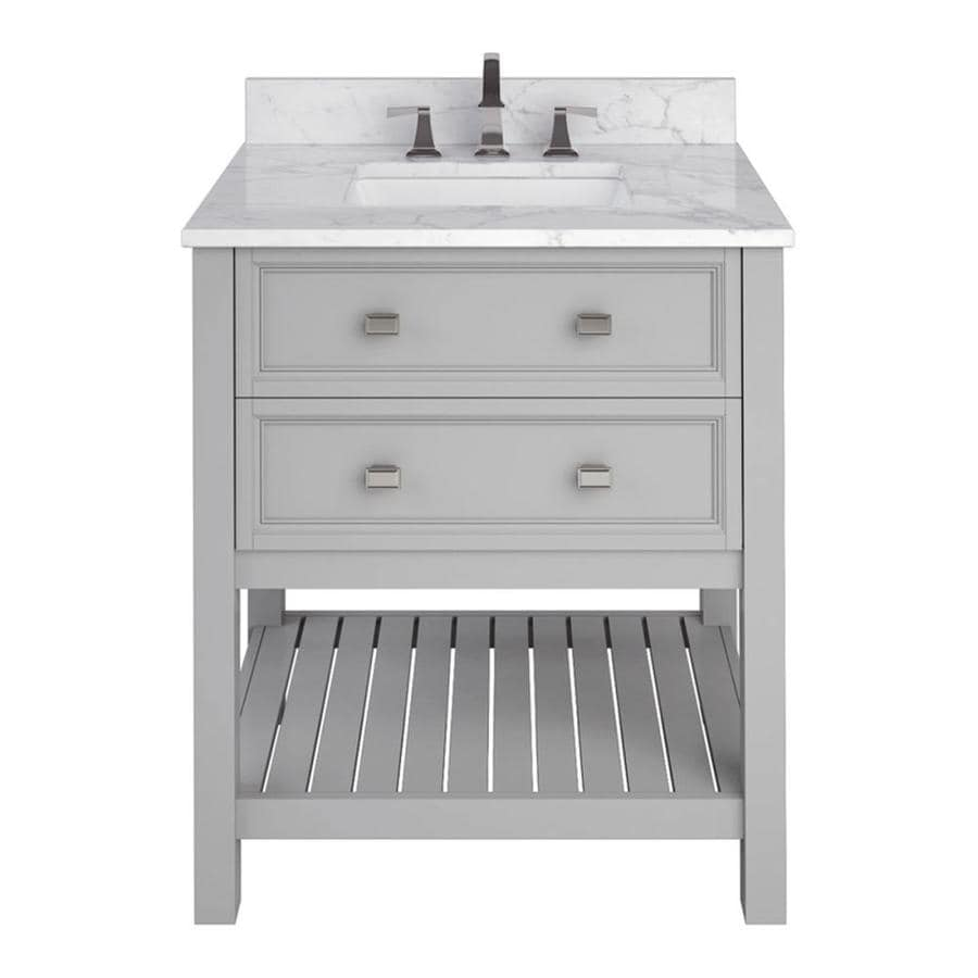 Scott Living Canterbury Light Gray Undermount Single Sink Bathroom Vanity with Natural Marble Top (Common: 30-in x 22-in; Actual: 30-in x 22-in)