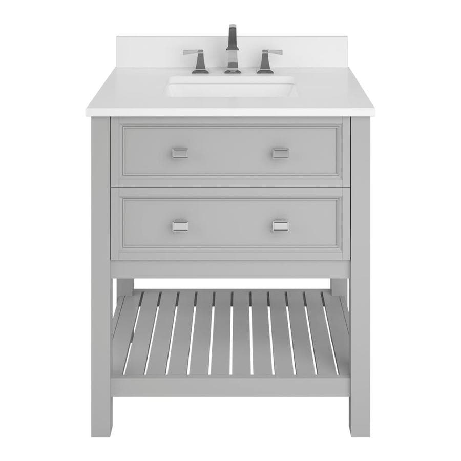 Scott Living Canterbury Light Gray Undermount Single Sink Bathroom Vanity with Engineered Stone Top (Common: 30-in x 22-in; Actual: 30-in x 22-in)