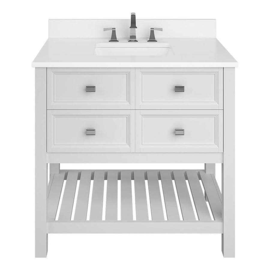 Scott Living Canterbury White Undermount Single Sink Bathroom Vanity with Engineered Stone Top (Common: 36-in x 22-in; Actual: 36-in x 22-in)