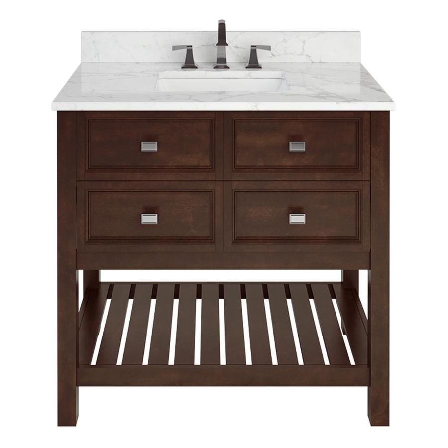 Scott Living Canterbury Mahogany Undermount Single Sink Bathroom Vanity with Natural Marble Top (Common: 36-in x 22-in; Actual: 36-in x 22-in)