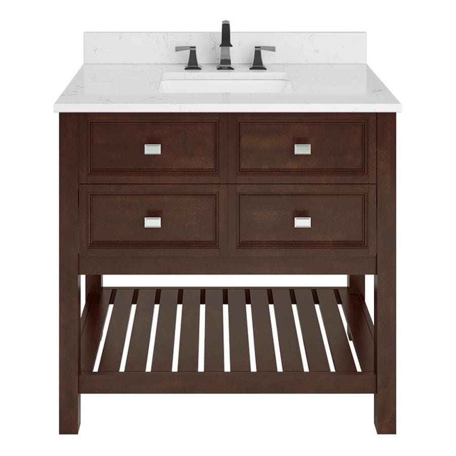 Scott Living Canterbury Mahogany Undermount Single Sink Bathroom Vanity with Engineered Stone Top (Common: 36-in x 22-in; Actual: 36-in x 22-in)
