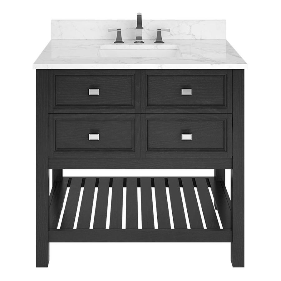 Scott Living Canterbury Black Undermount Single Sink Bathroom Vanity with Natural Marble Top (Common: 36-in x 22-in; Actual: 36-in x 22-in)