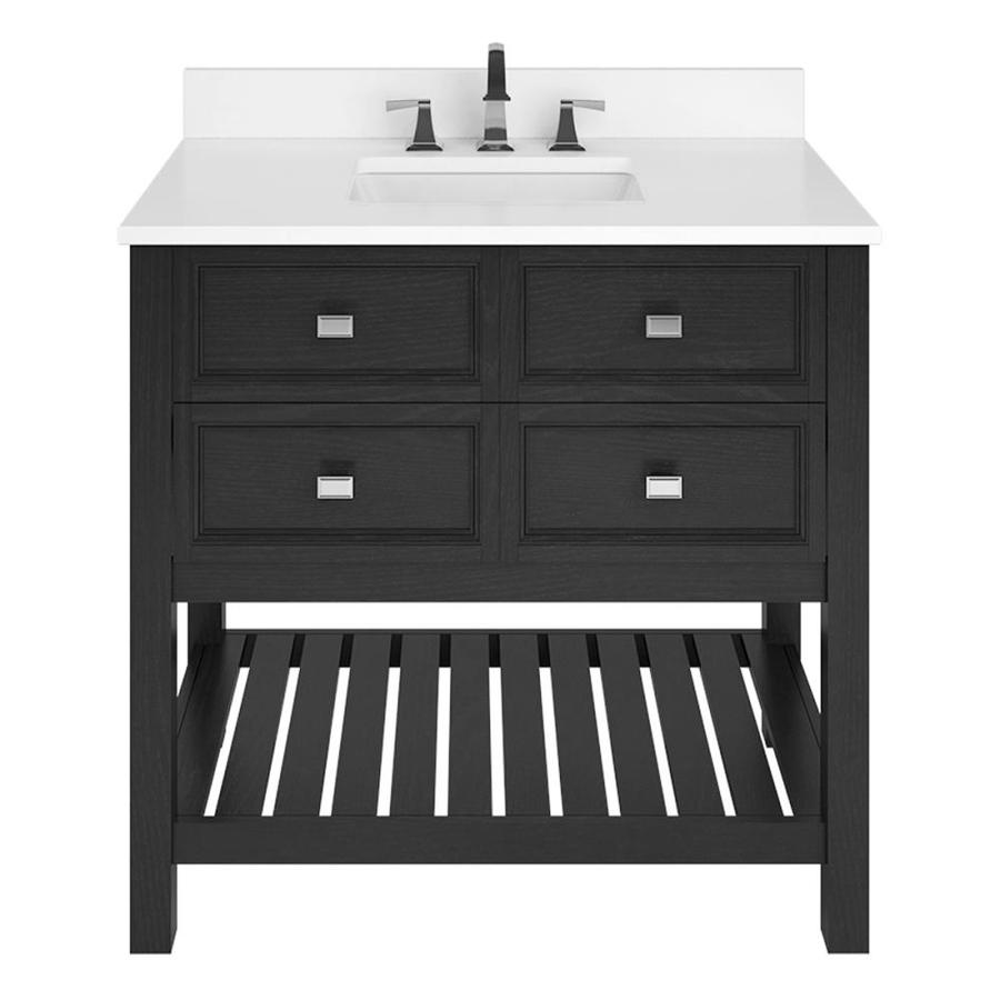 Scott Living Canterbury Black Undermount Single Sink Bathroom Vanity with Engineered Stone Top (Common: 36-in x 22-in; Actual: 36-in x 22-in)