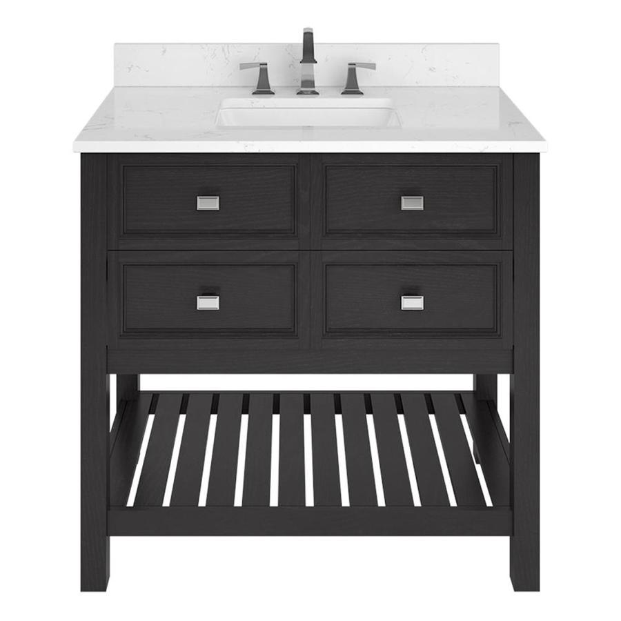 Scott Living Canterbury Black Single Sink Vanity With Carrara Engineered Stone Top (Common: 36 In X 22 In) by Lowe's