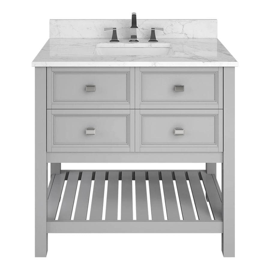 Scott Living Canterbury Light Gray Undermount Single Sink Bathroom Vanity with Natural Marble Top (Common: 36-in x 22-in; Actual: 36-in x 22-in)