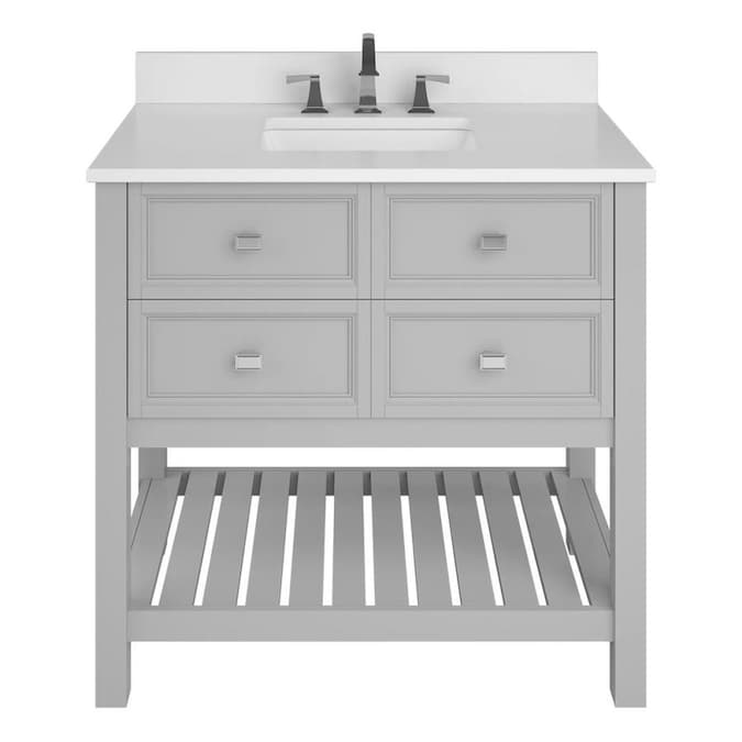 Allen Roth Canterbury 36 In Light Gray Undermount Single Sink Bathroom Vanity With White Engineered Stone Top In The Bathroom Vanities With Tops Department At Lowes Com