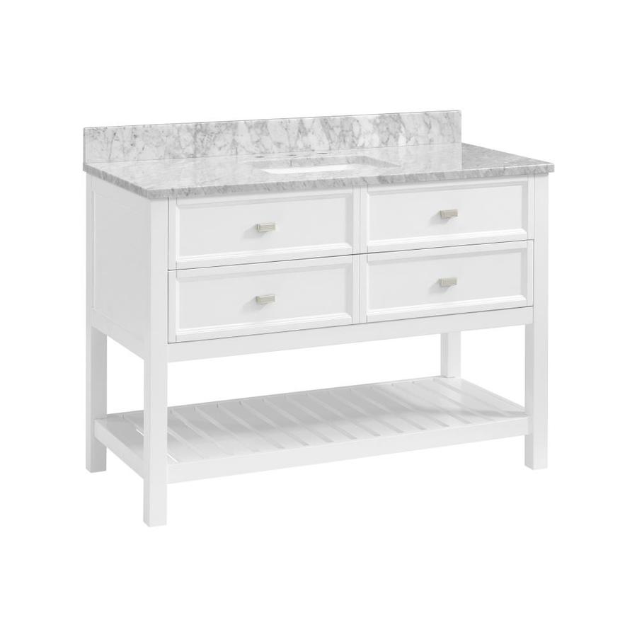 Scott Living Canterbury White Undermount Single Sink Bathroom Vanity with Natural Marble Top (Common: 48-in x 22-in; Actual: 48-in x 22-in)