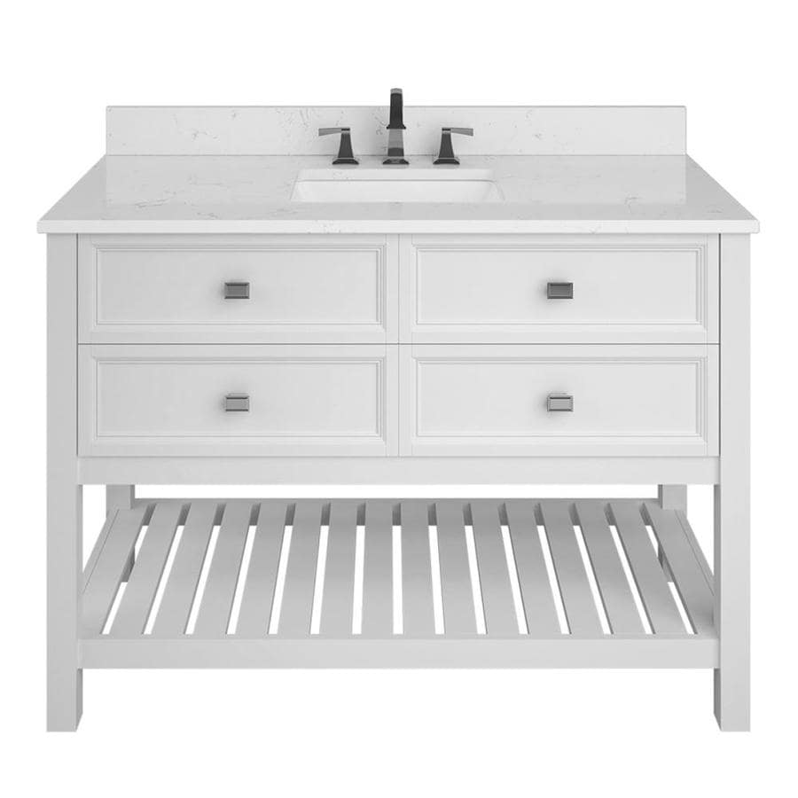 Scott Living Canterbury White Undermount Single Sink Bathroom Vanity with Engineered Stone Top (Common: 48-in x 22-in; Actual: 48-in x 22-in)