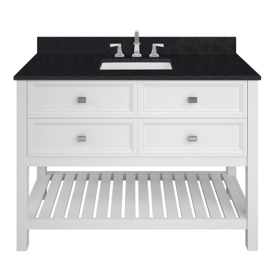 Scott Living Canterbury White Undermount Single Sink Bathroom Vanity with Granite Top (Common: 48-in x 22-in; Actual: 48-in x 22-in)
