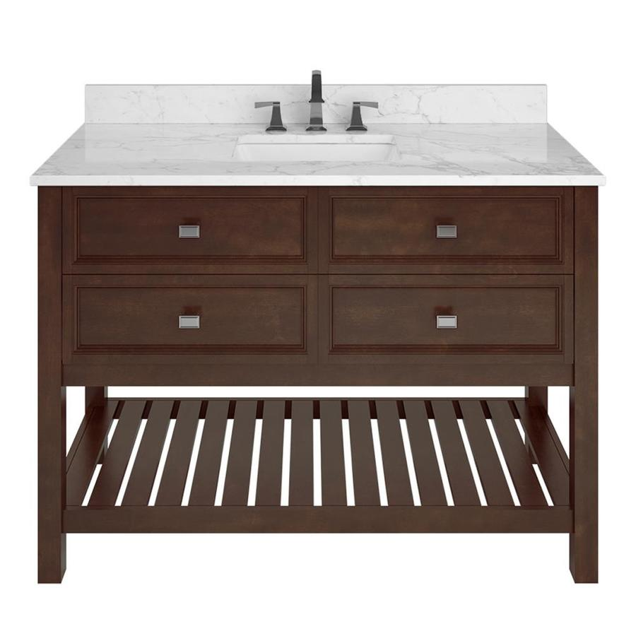 Scott Living Canterbury Mahogany Undermount Single Sink Bathroom Vanity with Natural Marble Top (Common: 48-in x 22-in; Actual: 48-in x 22-in)