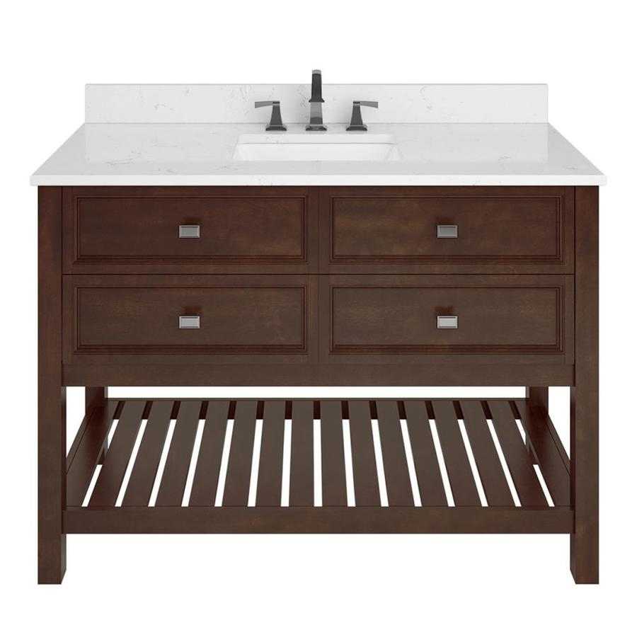 Scott Living Canterbury Mahogany Undermount Single Sink Bathroom Vanity with Engineered Stone Top (Common: 48-in x 22-in; Actual: 48-in x 22-in)