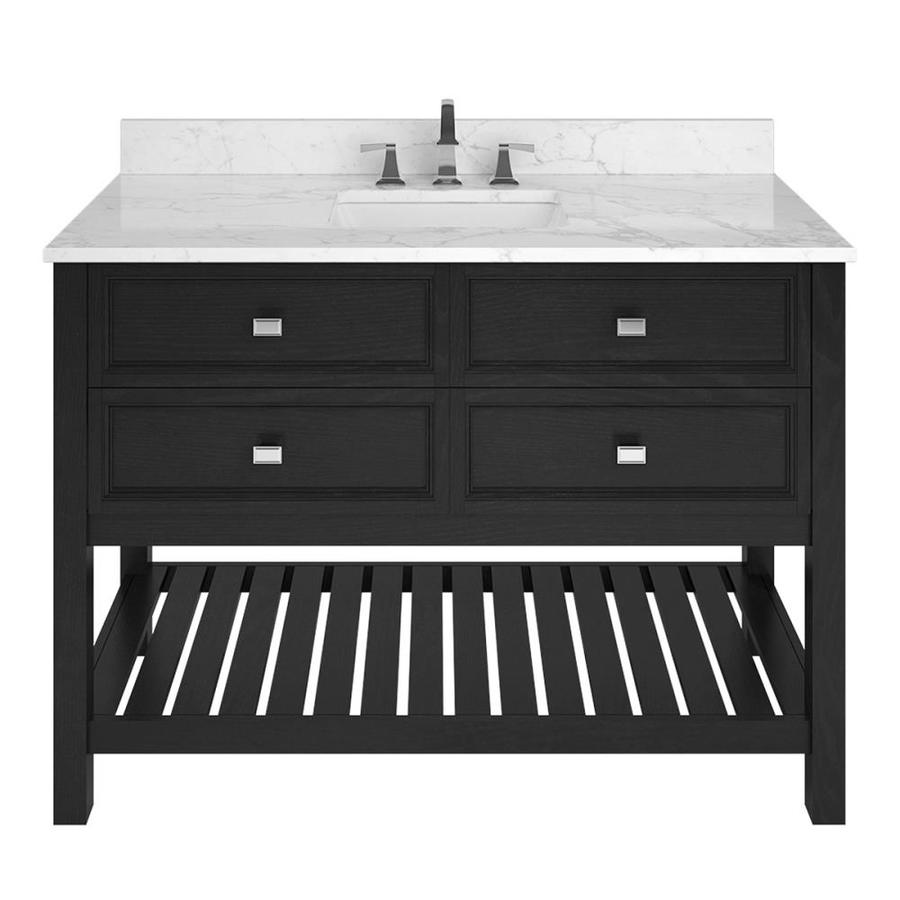 Scott Living Canterbury Black Undermount Single Sink Bathroom Vanity with Natural Marble Top (Common: 48-in x 22-in; Actual: 48-in x 22-in)