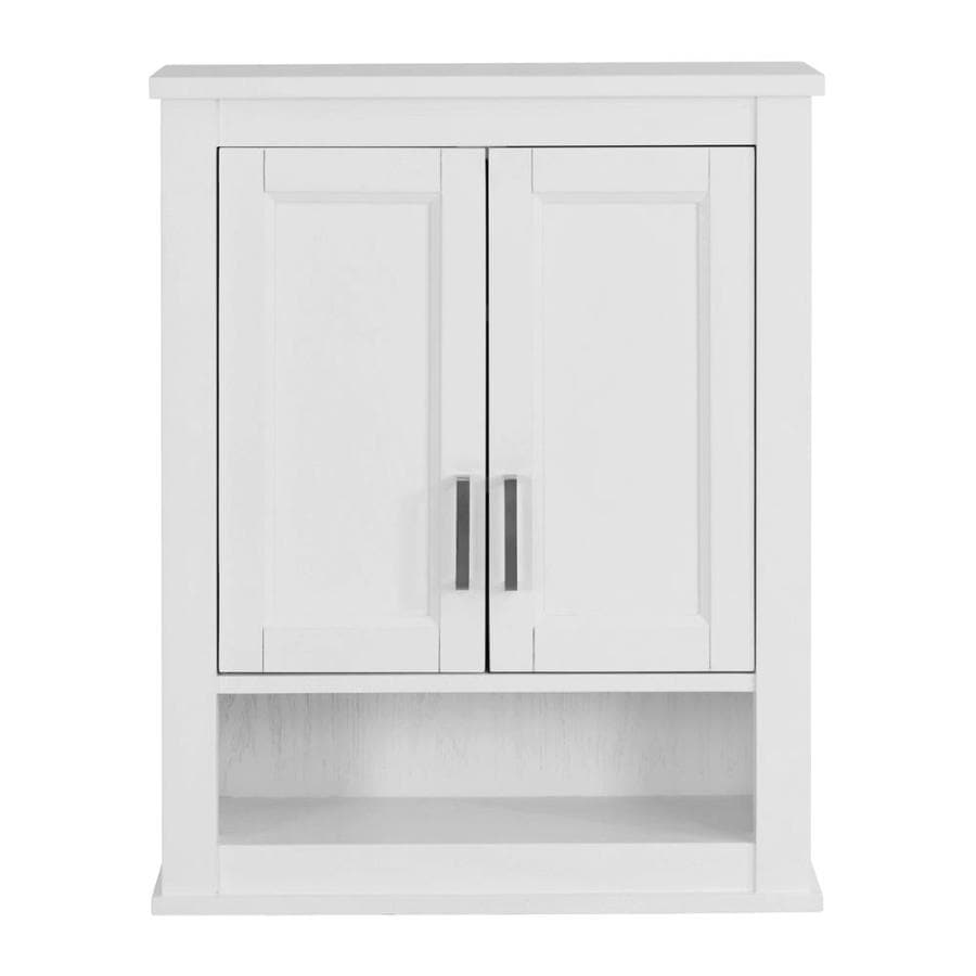 white bathroom storage cabinet shop living durham 24 in w x 30 in h x 10 in d white 28486