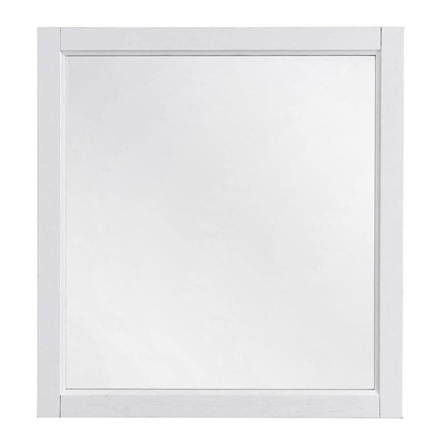 Shop scott living durham 28 in white rectangular bathroom mirror at for White rectangular bathroom mirror