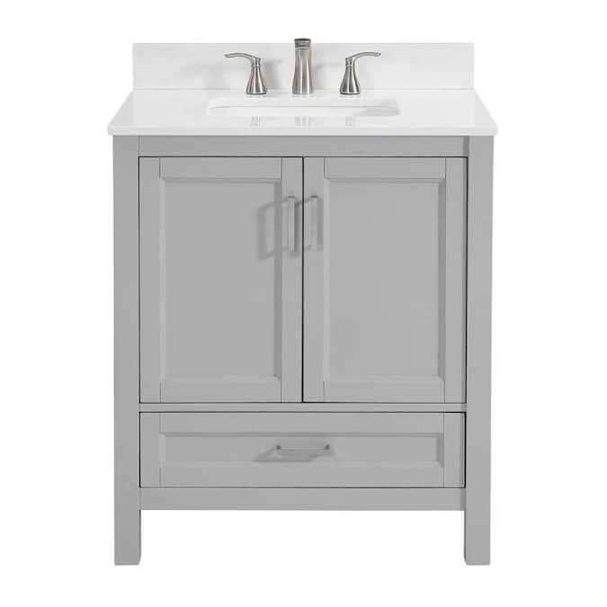 Light Gray Single Sink Bathroom Vanity