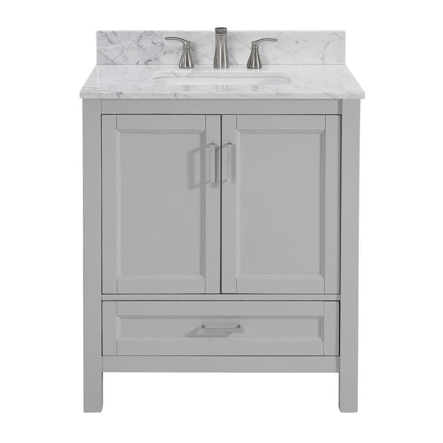 Shop Scott Living Durham Light Gray Undermount Single Sink Bathroom Vanity With Natural Marble