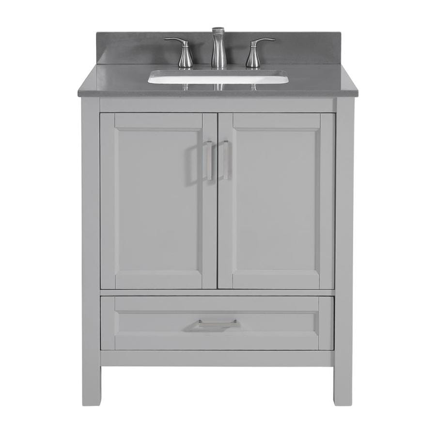 Scott Living Durham Cool Gray Undermount Single Sink Bathroom Vanity with Engineered Stone Top (Common: 30-in x 22-in; Actual: 30-in x 22-in)