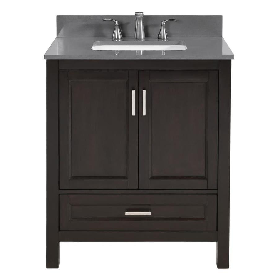 Scott Living Durham Espresso Undermount Single Sink Bathroom Vanity with Engineered Stone Top (Common: 30-in x 22-in; Actual: 30-in x 22-in)