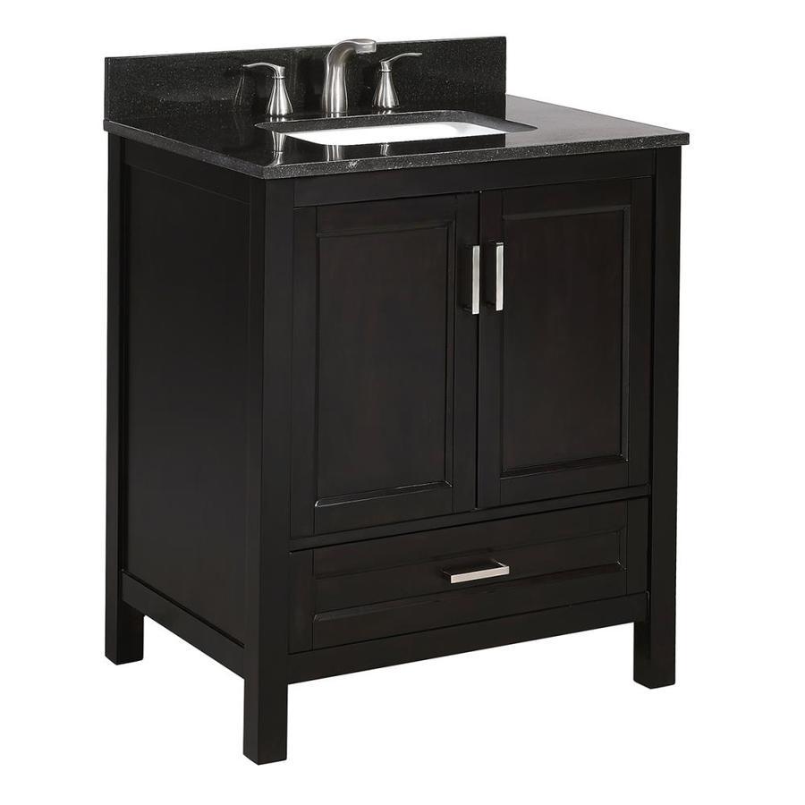 Shop Scott Living Durham Espresso Single Sink Vanity With Black Granite Top Common 30 In X 22