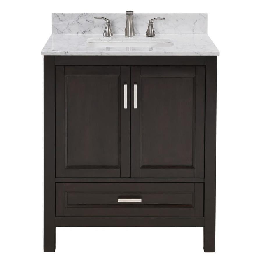 Shop Scott Living Durham Espresso Undermount Single Sink Bathroom Vanity With Natural Marble Top