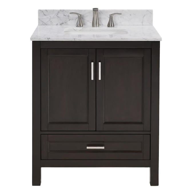 Scott Living Durham 30 In Espresso Single Sink Bathroom Vanity With Natural Carrara Marble Top In The Bathroom Vanities With Tops Department At Lowes Com