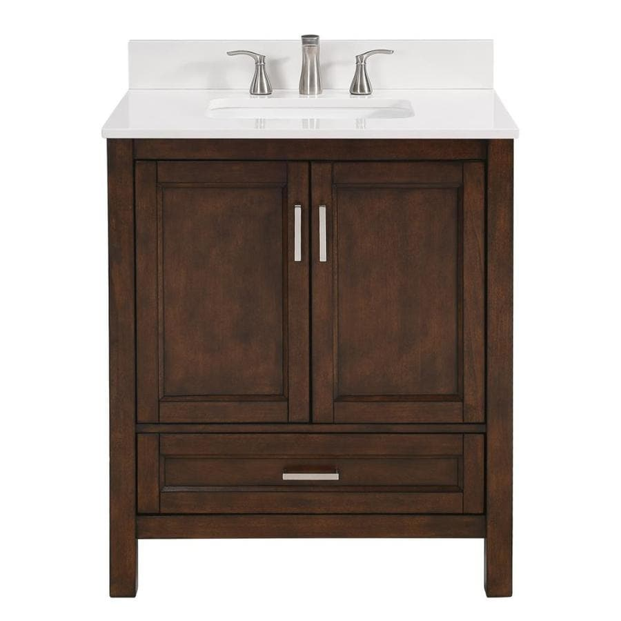 Shop Scott Living Durham Chocolate Undermount Single Sink Bathroom Vanity With Engineered Stone