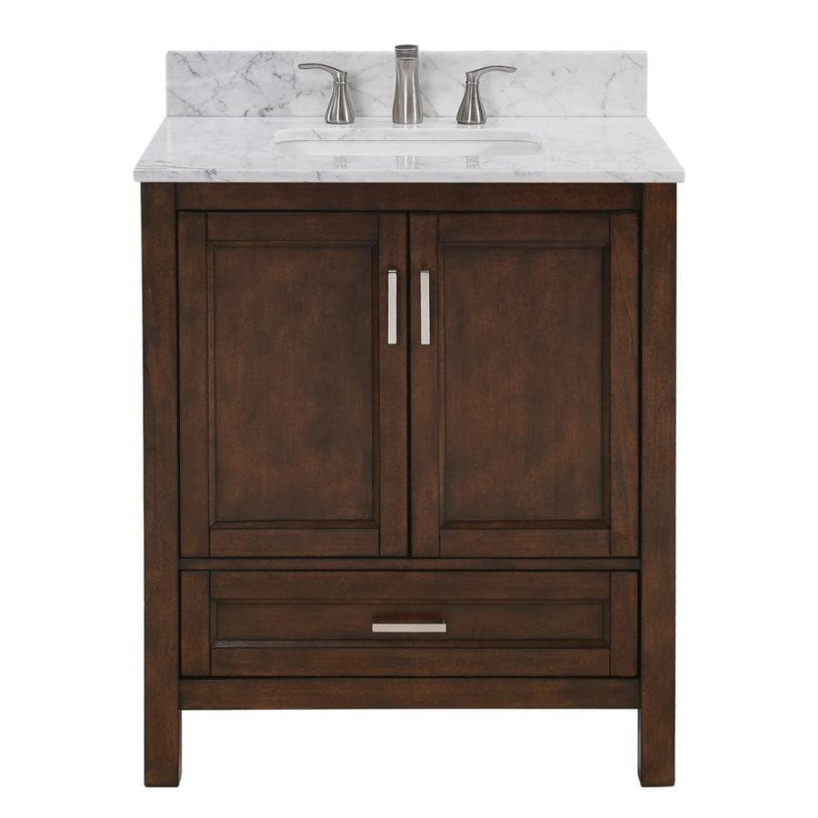 Shop Scott Living Durham Chocolate Single Sink Vanity With Carrara Natural Marble Top Common