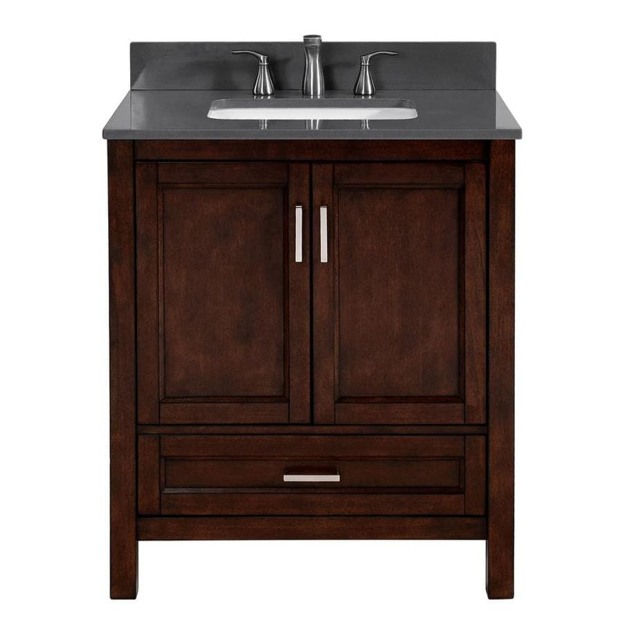 Scott Living Durham Chocolate Undermount Single Sink Bathroom Vanity with Engineered Stone Top (Common: 30-in x 22-in; Actual: 30-in x 22-in)