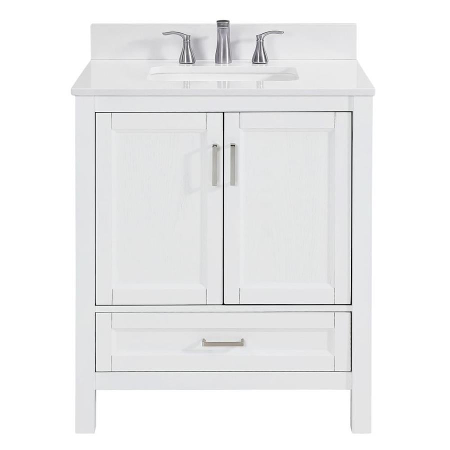 Scott Living Durham White Undermount Single Sink Bathroom Vanity with Engineered Stone Top (Common: 30-in x 22-in; Actual: 30-in x 22-in)